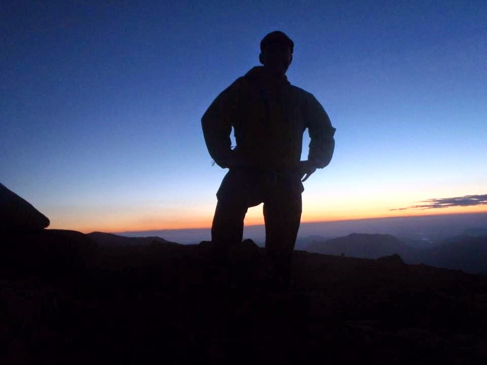 Posing over the sunrise near Hart Crag - Lake District
