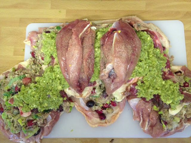 Pheasant breasts on top of the stuffing