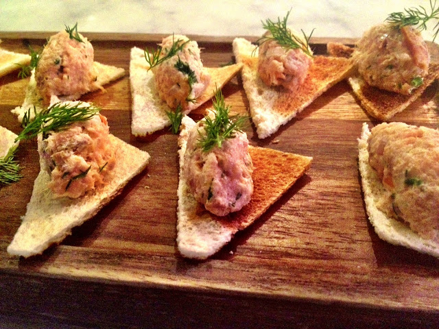 Smoked salmon pate canapés - SMITHS Spitalfields
