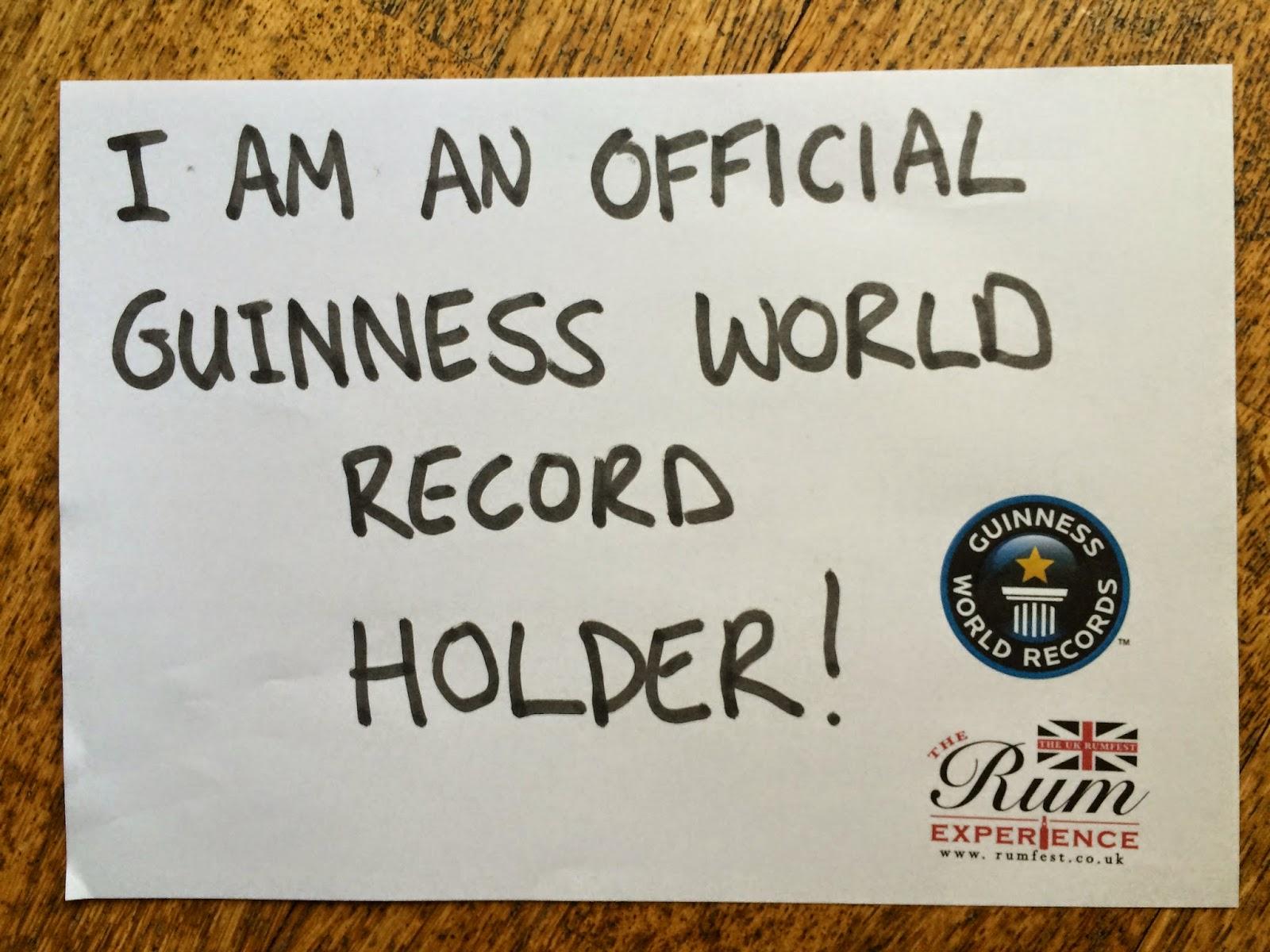 Guinness World Record - Rum Tasting - Rumfest, London, 2014