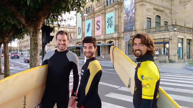 Walking through the streets of San Sebastian, heading for a surf at La Concha beach