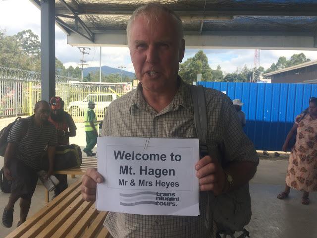 Holding up the Mr & Mrs Heyes sign - Mount Hagen