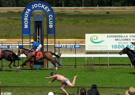Streaker on a stag do at the races