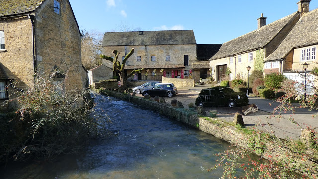 The River Windrush next to the motor museum, Bourton-on-the-water
