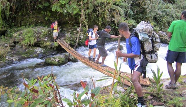 A river crossing on the Kokoda trail, Papua New Guinea