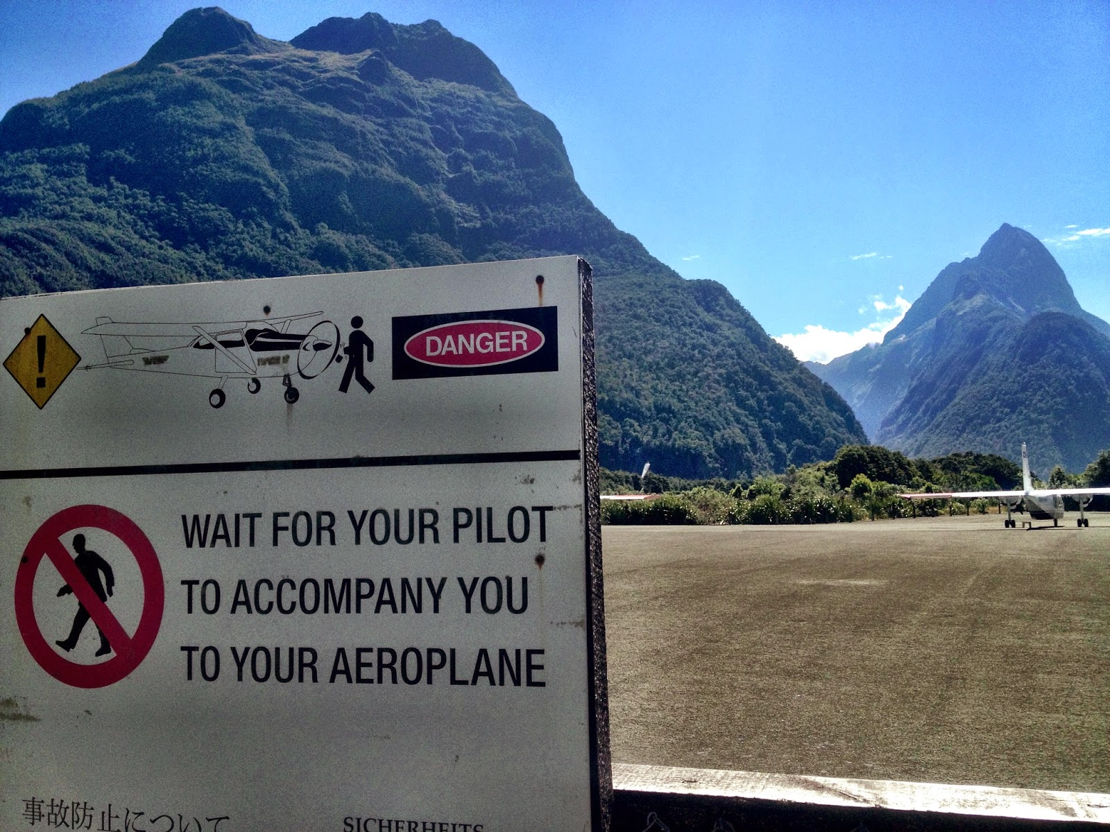 The pilot accompanies you to the plane - Milford Sound Airport, Fjordland, New Zealand
