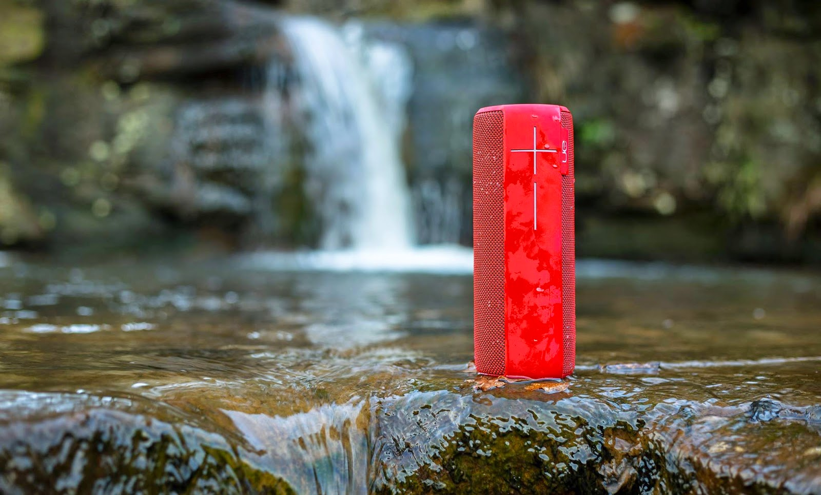 the UE Megaboom speaker. In a river.