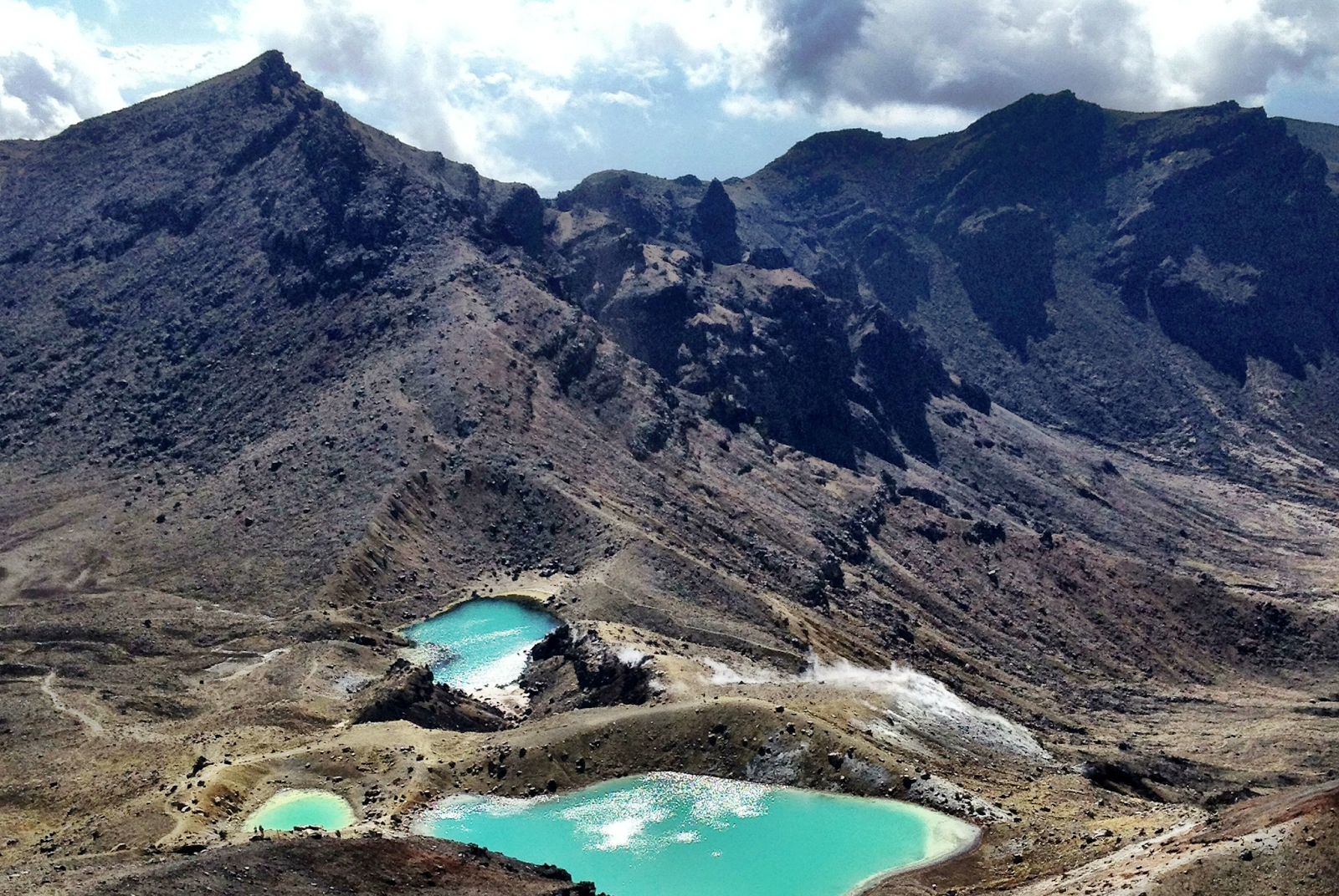 Looking down towards the Emerald Lakes from the Red Crater, Tongariro National Park, New Zealand
